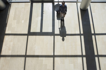 Businessman standing in lobby, holding luggage, casting shadow on floor, rear view, elevated view