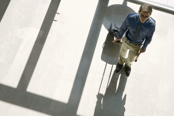 Businessman standing in lobby, holding luggage, casting shadow on floor, elevated view
