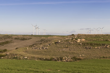 Wind energy turbines on the field sky and clouds background