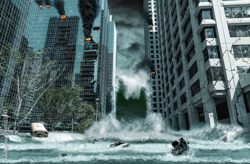 City Destroyed by Tsunami