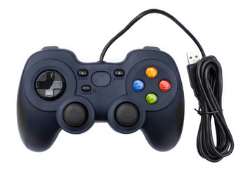Black joystick for console video game in isolated background