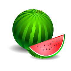 watermelon green on a white background and a piece cut