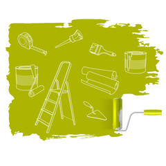 Home repair  concept, sketched drawing with paint roller