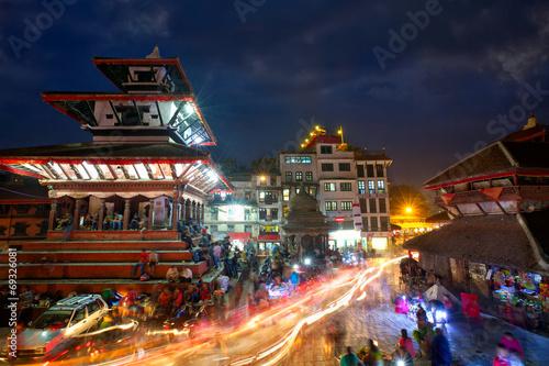 Fotobehang Bedehuis Durbar Sqaure in Kathmandu at night, Nepal