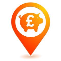 épargne livre sterling sur symbole localisation orange