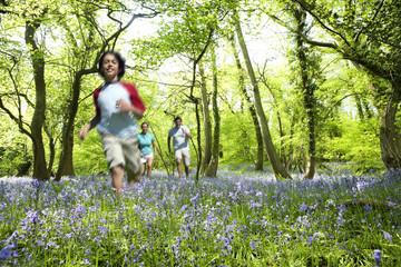 Boy running through field of bluebell flowers
