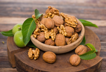 Fresh walnuts in the bowl