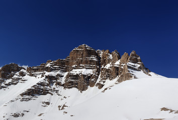 Panorama of snowy rocks at nice spring day