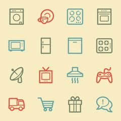 Home appliances web icons, retro color