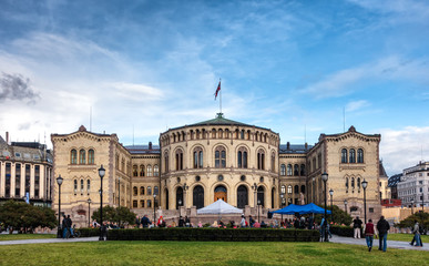 Parliament building storting in Oslo, Norway