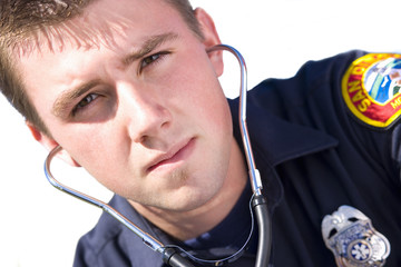 Paramedic with stethoscope, portrait, close-up, cut out