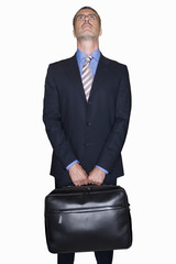Businessman looking up, cut out