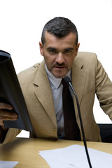 Businessman with folder giving speech, portrait, cut out