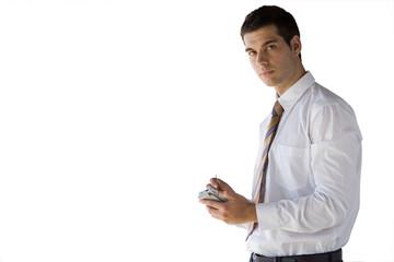 Businessman using electronic organizer, cut out
