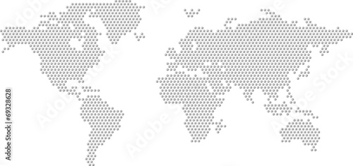 Canvas Wereldkaarten Dotted Map of the World radial fill