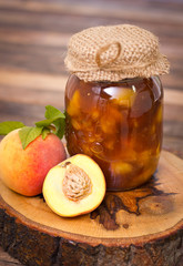 Homemade peach jam in the jar