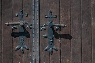 doorknob and closed old wooden door