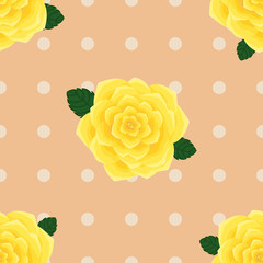Provence yellow roses seamless pattern