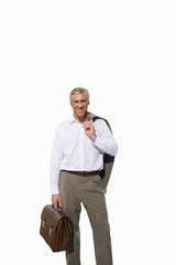 Mature businessman, with briefcase, portrait, cut out