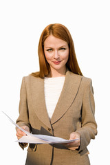 Businesswoman holding document, smiling, portrait, cut out