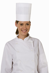 Female chef, smiling, front view, portrait, cut out