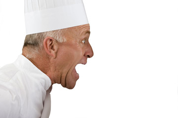 Angry senior chef yelling, profile, cut out