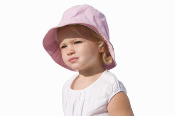 Baby girl wearing hat, cut out