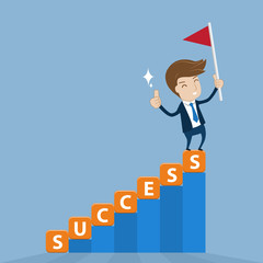 Businessman standing on top of success stairway with  flag of vi