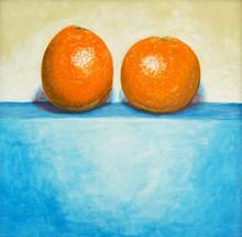 une peinture de deux oranges
