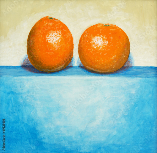 a painting of two oranges © clivewa