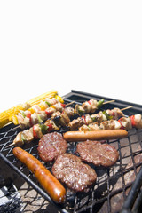 Food on barbeque, cut out
