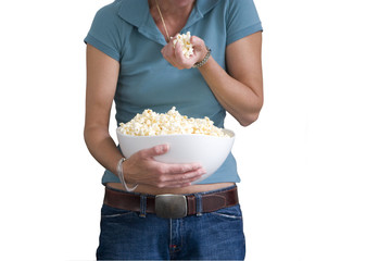 Woman with popcorn, mid section, cut out