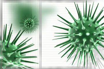 Digital illustration of virus in color background
