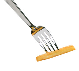 French fry on a fork