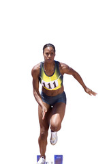 athlete woman running, cut out