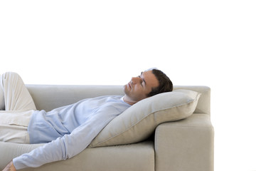 man asleep on sofa, cut out