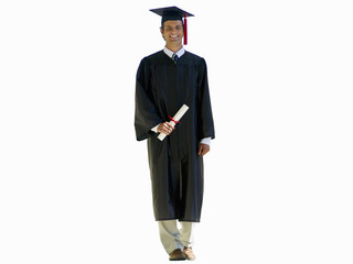 young man in graduation robe, cut out