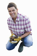 man holding potatoes in gardening gloves, cut out