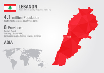 Lebanon world map with a pixel diamond texture.