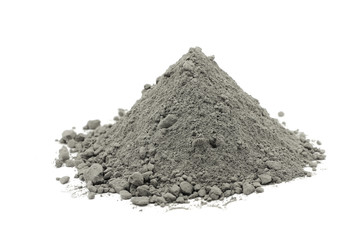 handful of gray cement powder on white background