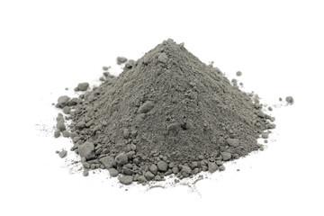 Gray cement powder on white background