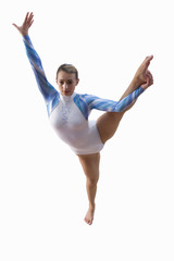female gymnast balancing with leg in the air, cut out