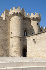 Towers and gate in the Rhodes castle, Greece