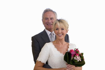 senior married couple on wedding day, portrait, cut out