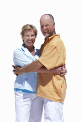 senior couple hugging each other, cut out