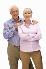 senior couple standing together, portrait, cut out