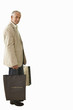 smart senior man holding shopping bags, cut out
