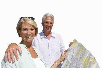 senior couple looking at road map, cut out