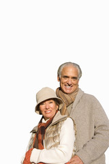 senior couple standing together in autumn clothes, cut out