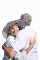 senior couple embracing, cut out